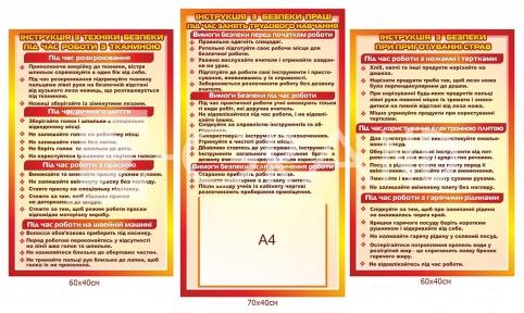 Комплект стендів  «Правила техніки безпеки в кабінеті обслуговуючої праці»