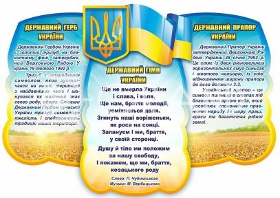 Стенд «Державні символи України» у вигляді хмаринки